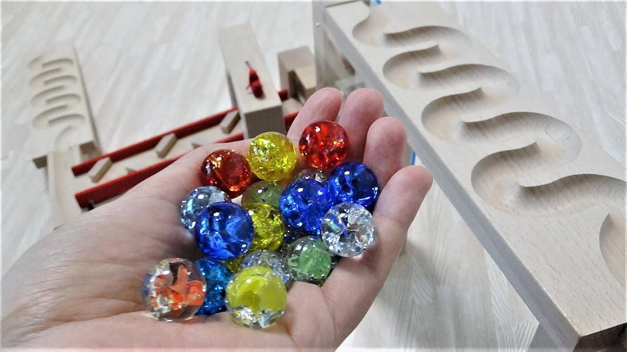 Marble run Healing ASMR with Haba & Glittering glass balls.