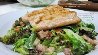 Grilled Salmon Fillet with Italian Dressing Mixed Greens Salad  Dietplan-101.com