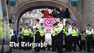 video: Watch: Extinction Rebellion activists block Tower Bridge in London