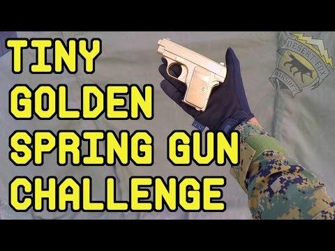 Tiny Golden Spring Airsoft Gun Challenge | Airsoft Pocket Pistol