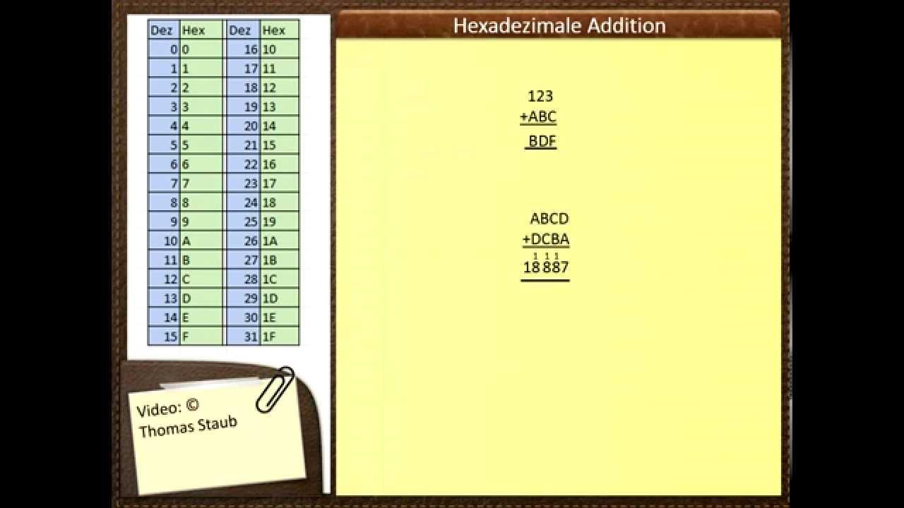 Hexadezimale Addition - YouTube