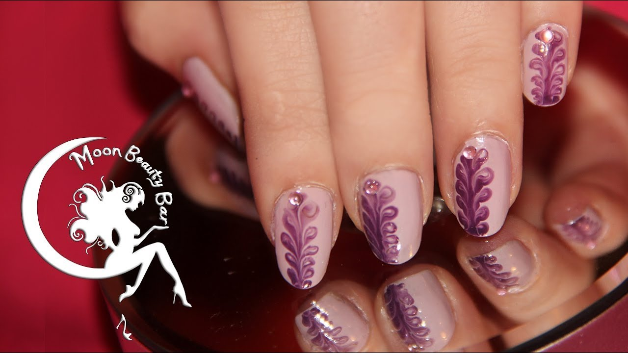 Purple Dry Marble Nail Art Design - YouTube