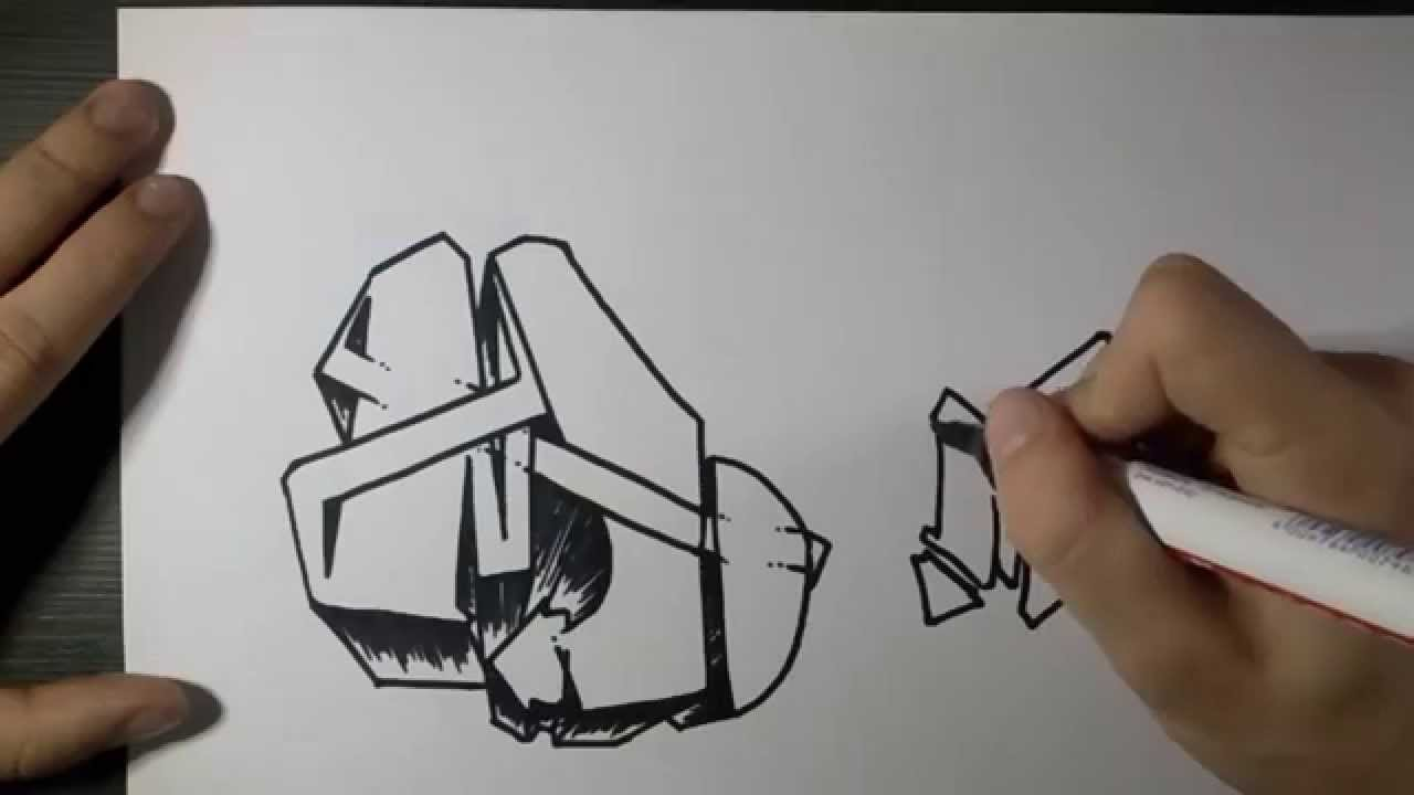 How to draw graffiti letter m on paper youtube