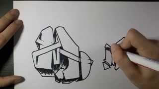 "How to draw Graffiti Letter ""M"" on paper"
