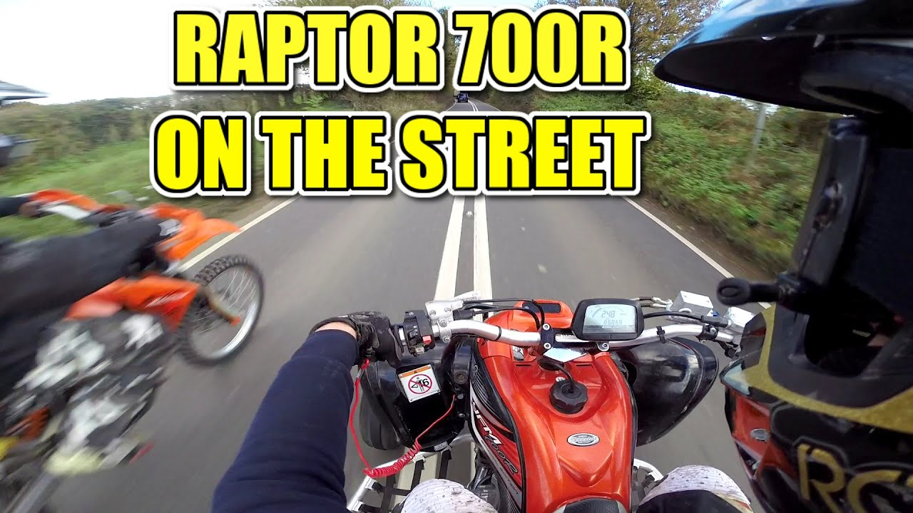 hd yamaha raptor 700 top speed overtakes friends on the street quad bike atv youtube