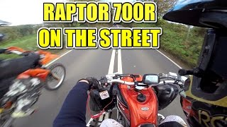 🐒 HD YAMAHA RAPTOR 700 TOP SPEED, OVERTAKES + FRIENDS ON THE STREET! QUAD BIKE ATV
