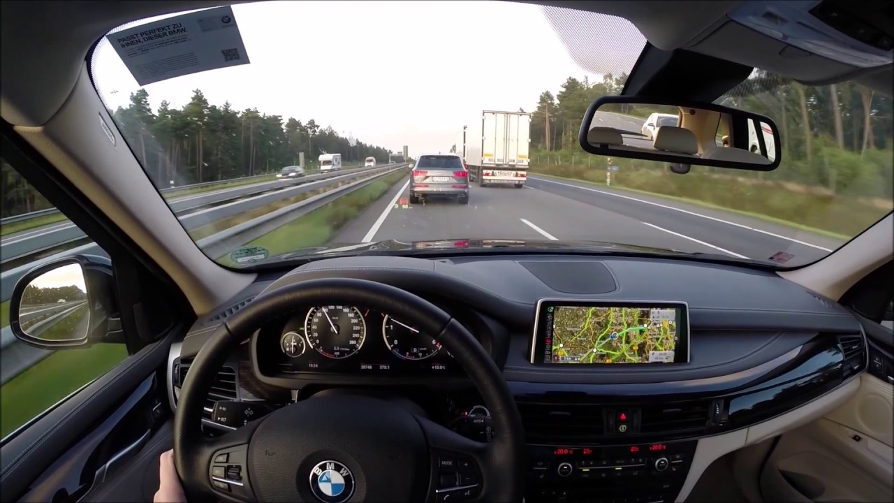 The Co Drivers View Fast Drive With Bmw X5 On Autobahn A1