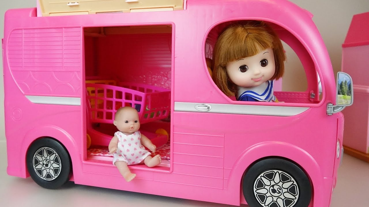 Baby Doli and pink camping car toys baby doll play - YouTube a6f06e874e