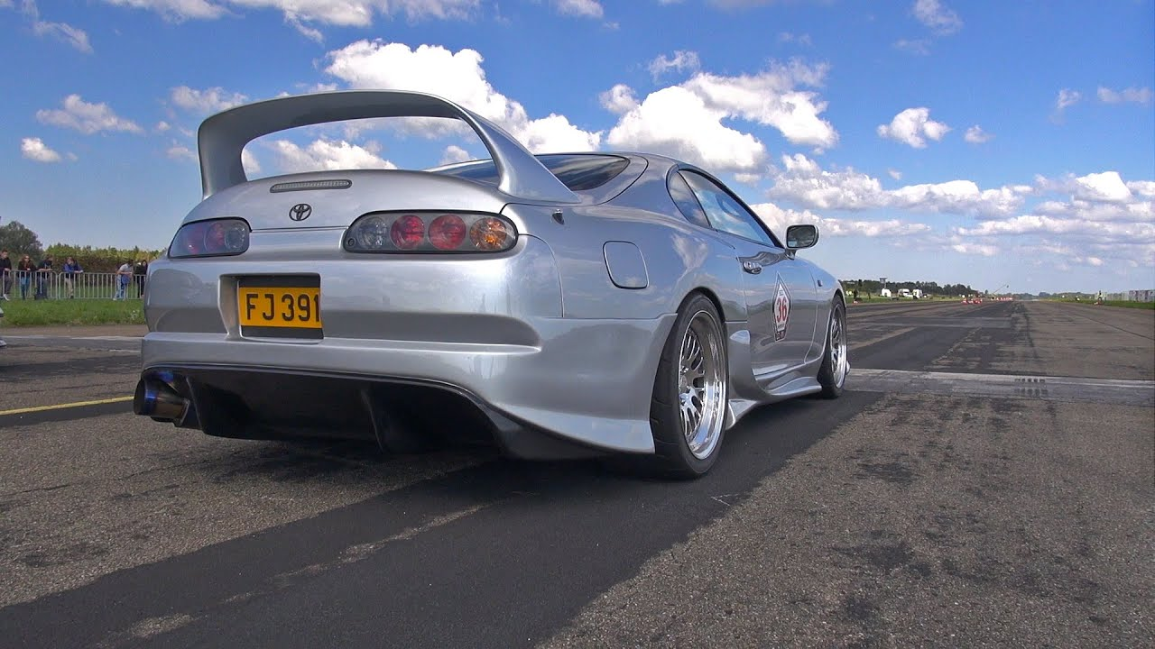 900Hp Toyota Supra In Action On The Dragstrip