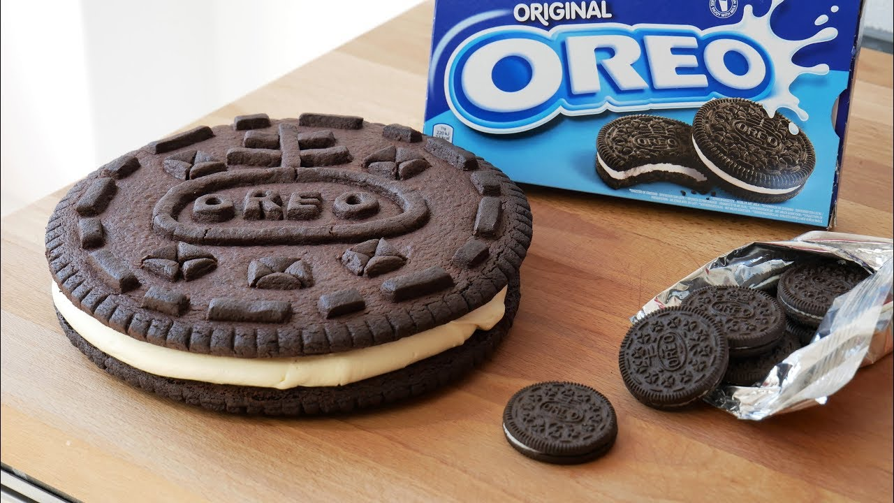 xxl oreo cookie selber machen rezept homemade giant oreo cookie recipe eng subs. Black Bedroom Furniture Sets. Home Design Ideas