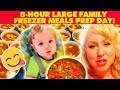 8-Hour Large Family Freezer Meals Prep Day | Big Freezer Soups, Batch Cooking Meat, Mini Meatloaves!