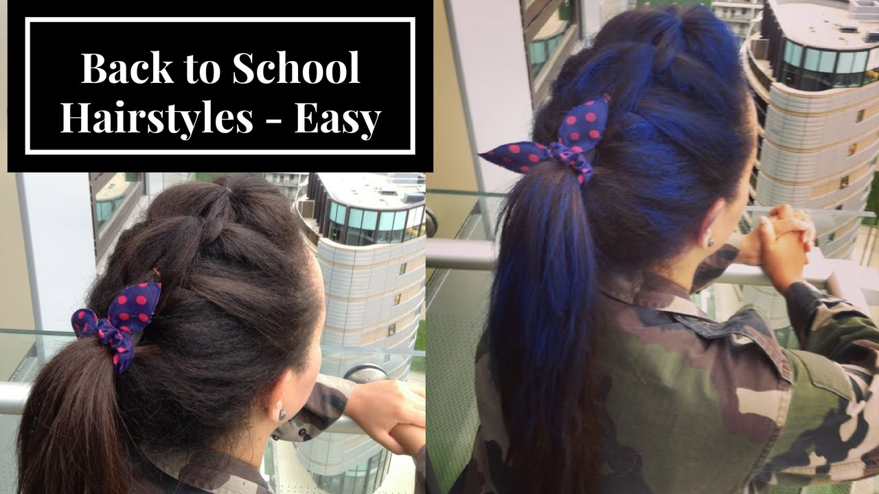 Easy Back to School HairStyle Blue hair dye Mohawk Ponytail spray on ...