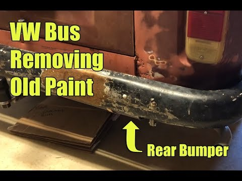 1972 VW Bus removing old spray paint from the rear bumper