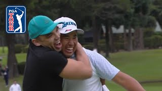Hideki Matsuyama celebrates with rugby player at MGM Resorts The Challenge