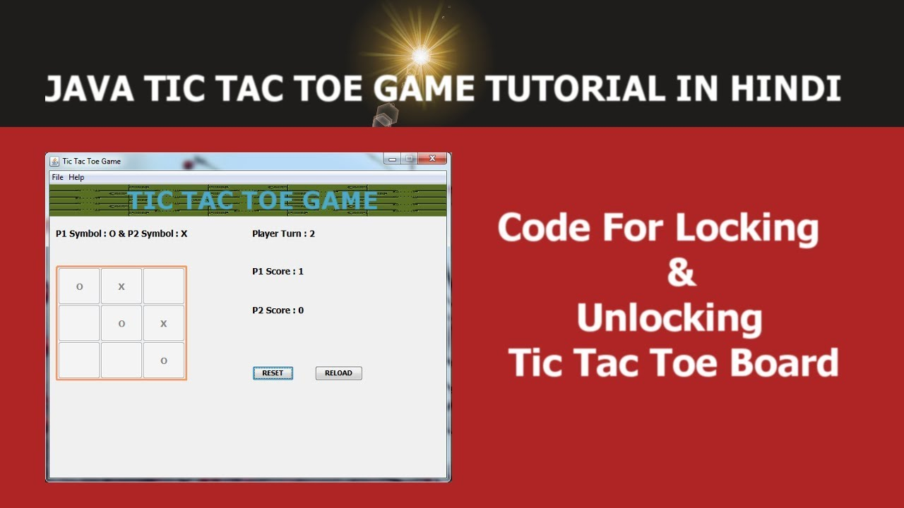 Java GUI Tic Tac Toe Game Tutorial - 6 - Code For Locking & Unlocking Board  - Hindi