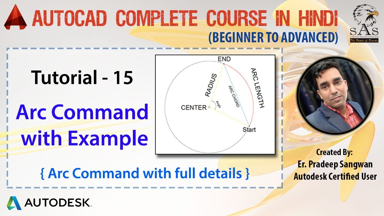 autocad 2016 - tutorial for beginners   15  how to draw a arc with example
