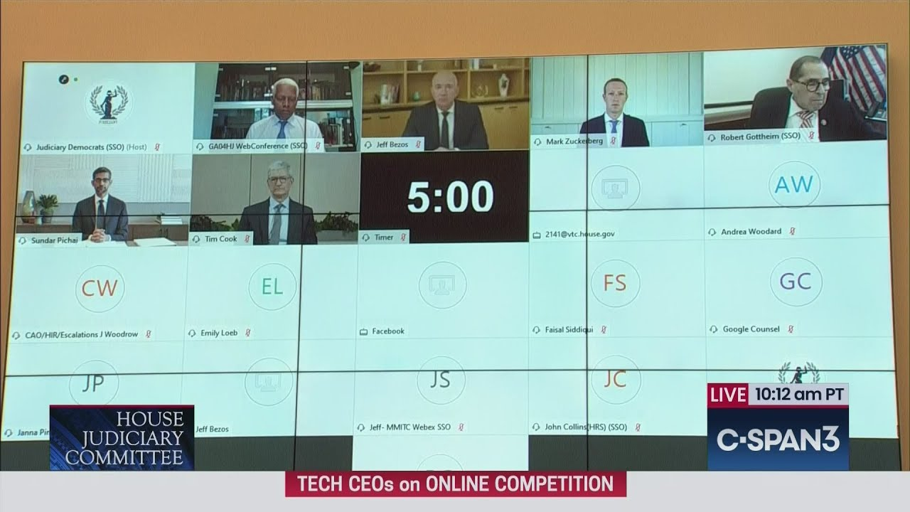 Tim Cook, Mark Zuckerberg, Jeff Bezos, Sundar Pichai testifying ...