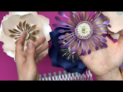 Paper flower centres made with LONG STAMENS template and video tutorial