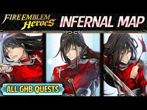 Fire Emblem Heroes: Grand Hero Battle: Navarre INFERNAL Map + All Quests w/ F2P Units+4*Gordin,NO SI