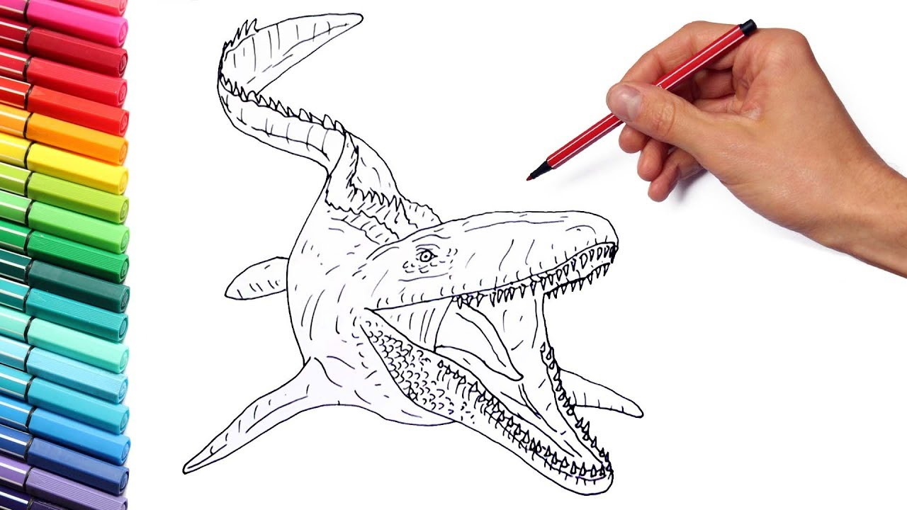 drawing and coloring the mosasaur from jurassic world