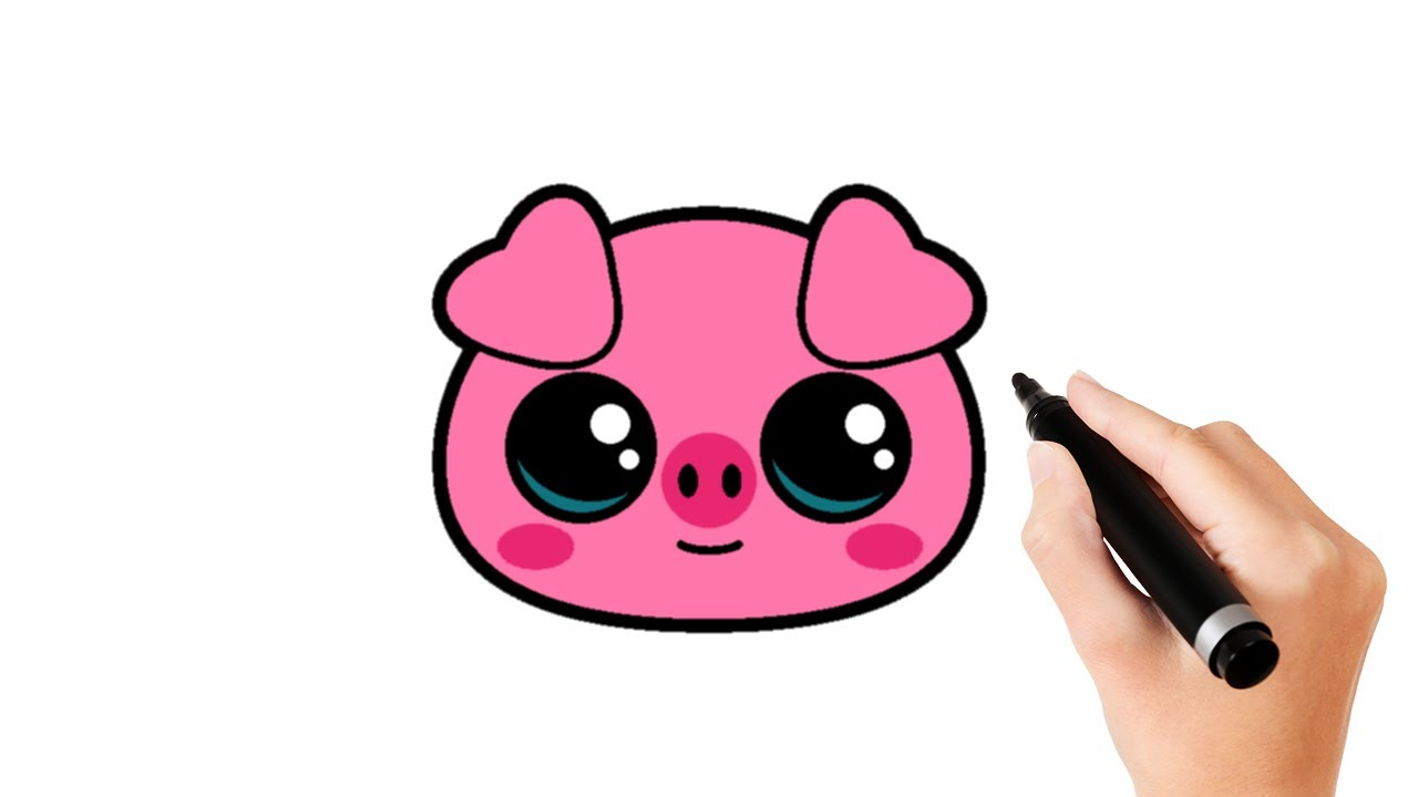 How To Draw A Cute Pig Face Youtube