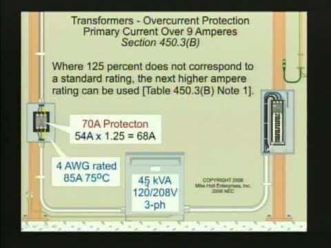 NEC 2008 Transformer Overcurrent Protection 450.3