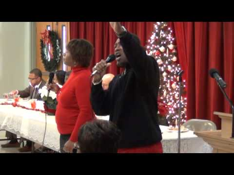 Sharon Baldwin and Sylvester Collins singing at Greenwood Missionary Baptist Church