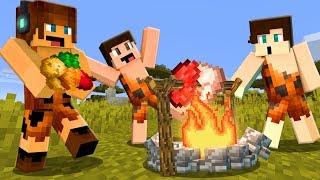FIZEMOS COMIDA NA FOGUEIRA !! - Minecraft Primitivo #02