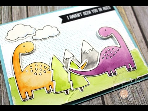 Papercraft MFT Prehistoric Fun | Gansai Tambi Watercolors | Color Throwdown #402