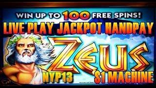 WMS - $1 Zeus Slot Bonus LIVE PLAY JACKPOT HANDPAY