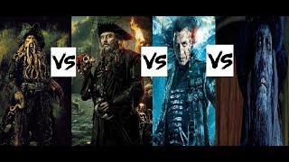 Davy Jones VS Blackbeard VS Salazar VS Cursed Barbossa-(Pirates of the Caribbean:Villains war.)