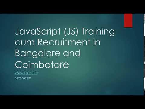 JavaScript JS Training cum Recruitment in Bangalore and Coimbatore-www.etcoe.in