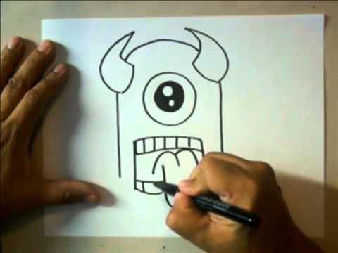Como Dibujar Un Monstruo Facil Youtube