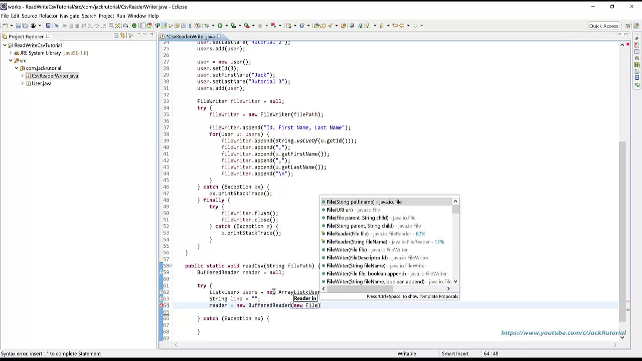 How to Read and Write CSV files in Java using Eclipse IDE - Learning