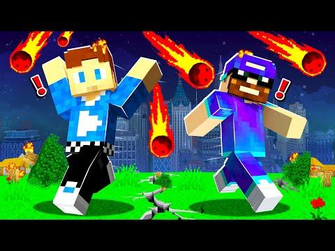 Minecraft MAIS des MÉTÉORITES Détruisent le Monde ! (ft. @Magicknup)