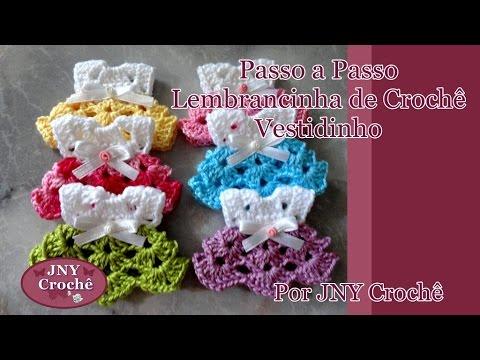 9745831da Passo a Passo Lembrancinha de Crochê Vestidinho por JNY Crochê - YouTube