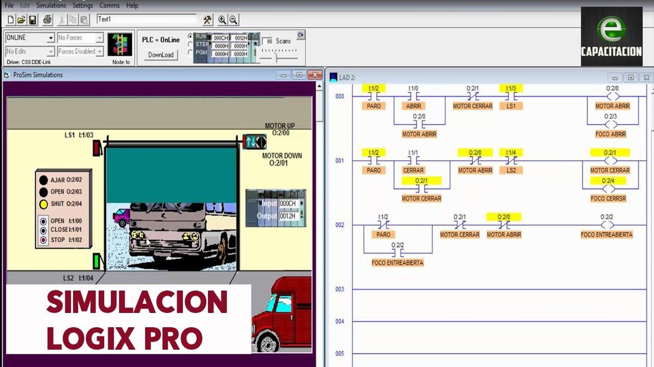 Diagrama de escalera simulacion puerta de un garage en - Puerta de garage ...