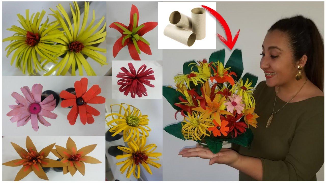 7 flores con rollos de papel higi nico manualidades recicladas paso a paso youtube - Manualidades rollos de papel higienico ...