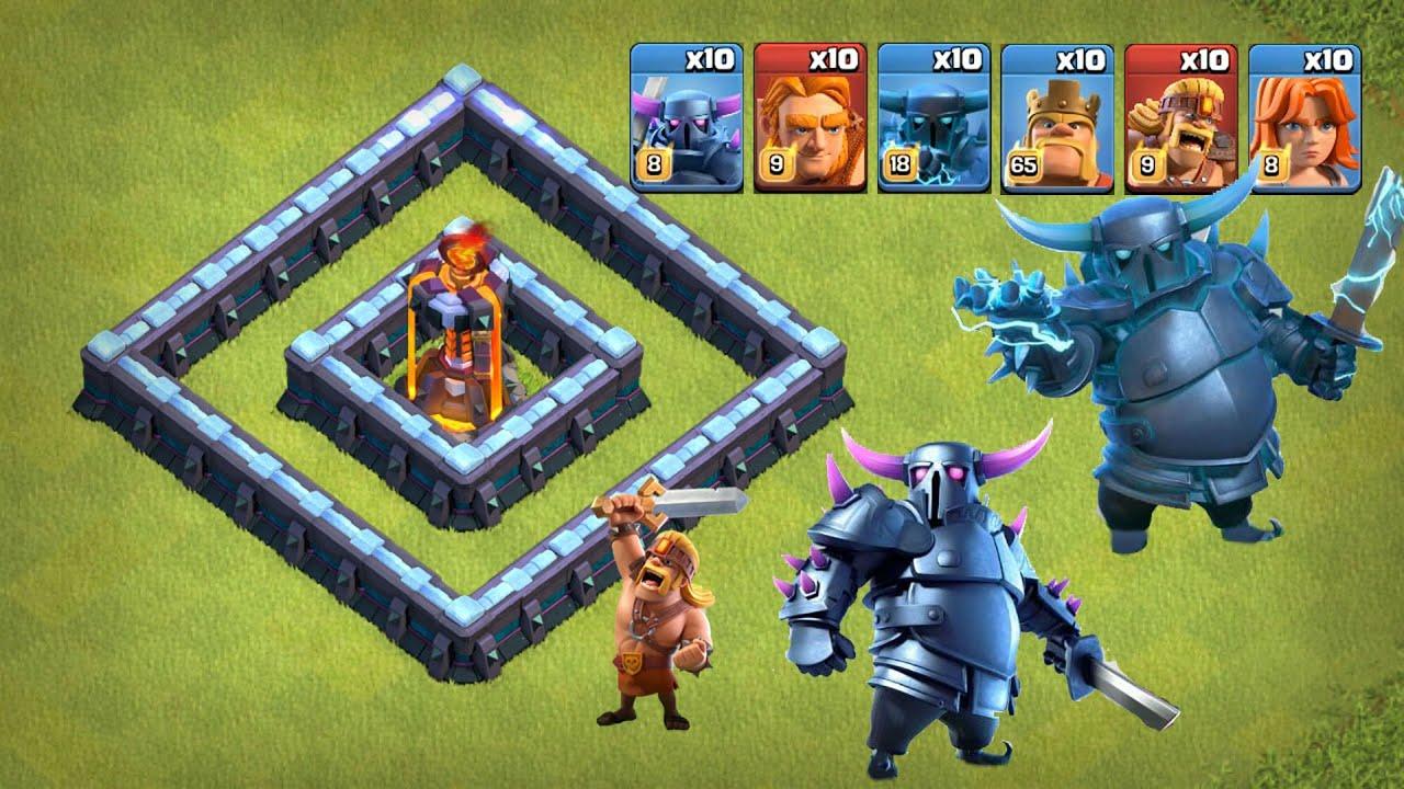 部落衝突:各大兵種排著隊上場地獄之塔竟然能輕鬆做到1打10!