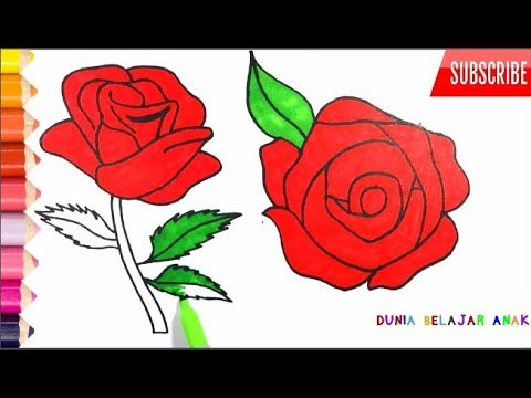 Cantik Banget Cara Menggambar Dan Mewarnai Bunga Mawar Merah