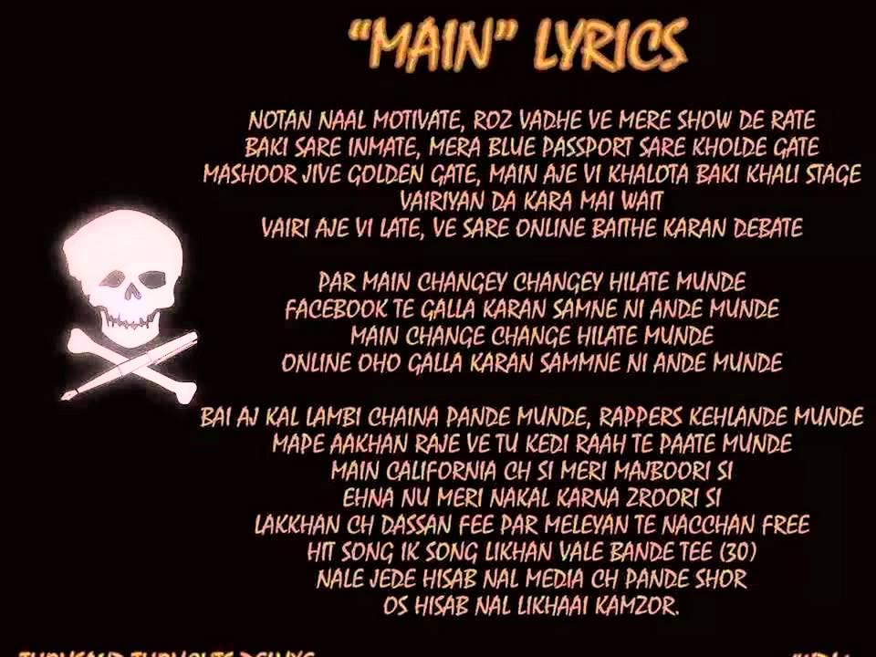 Lyrics main deewana (bohemia )>>>rapstar<<< - UNP