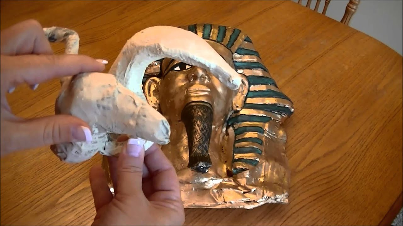 Paper mache sculpture of king tut for my classroom youtube for How to make a sculpture out of paper mache