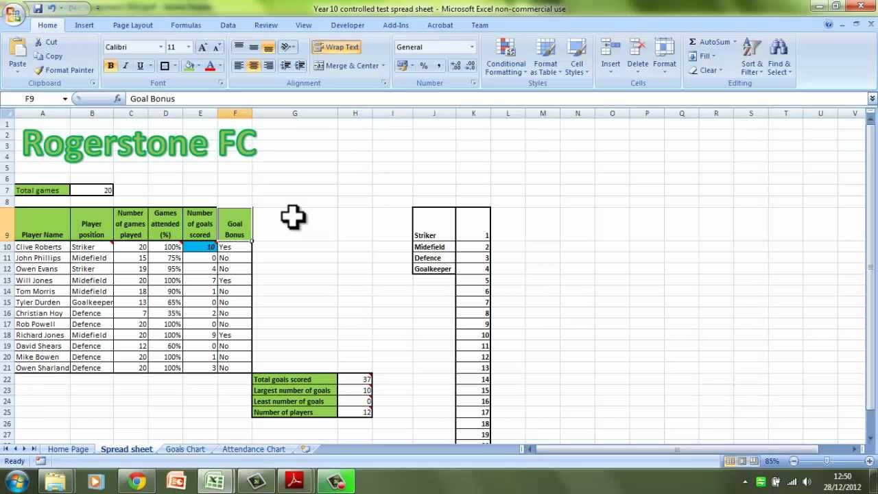 Gcse ict coursework spreadsheet