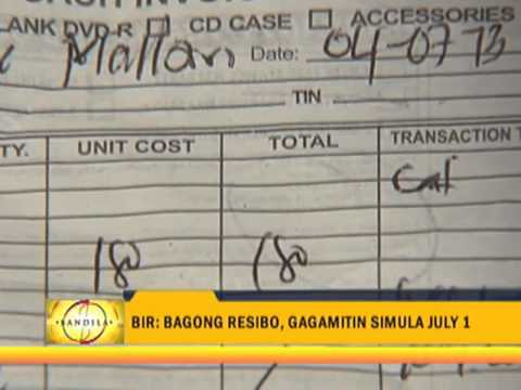 Use Of New BIR Receipts Starts July