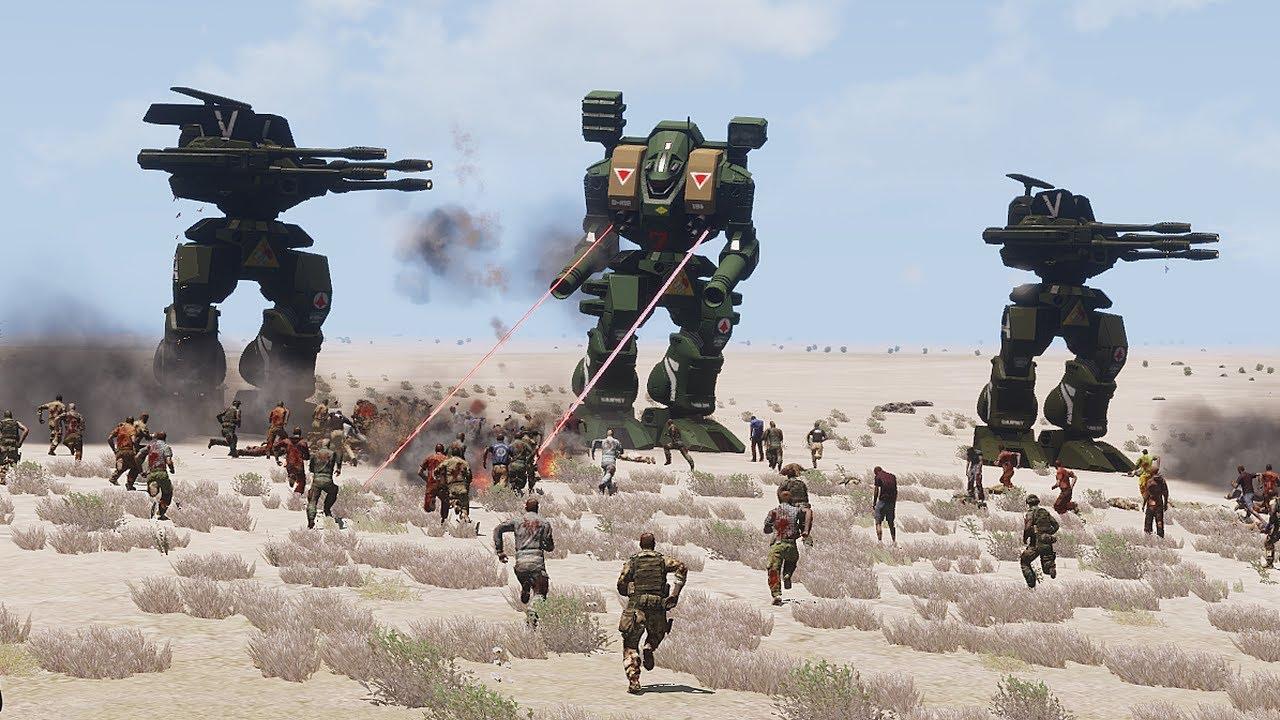 MECHS vs MASSIVE ZOMBIE INVASION - ArmA 3 (4K Gameplay)