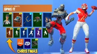 *NEW* Fortnite Skins & Emotes! Touchdown Emote, Hunting Party, NFL Referee & Skin, Spike It
