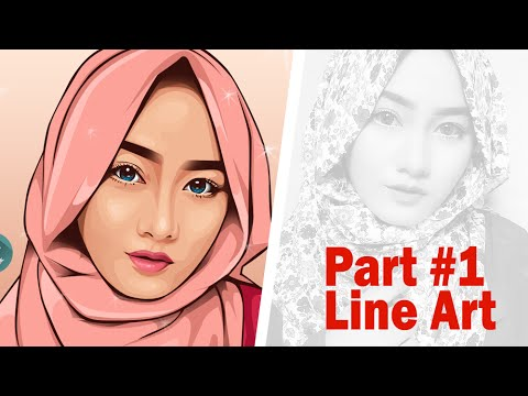 Line Art Portrait : Vector vexel portrait tutorial part line art youtube