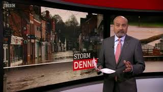 BBC News at Six from Tewksbury - Storm Dennis