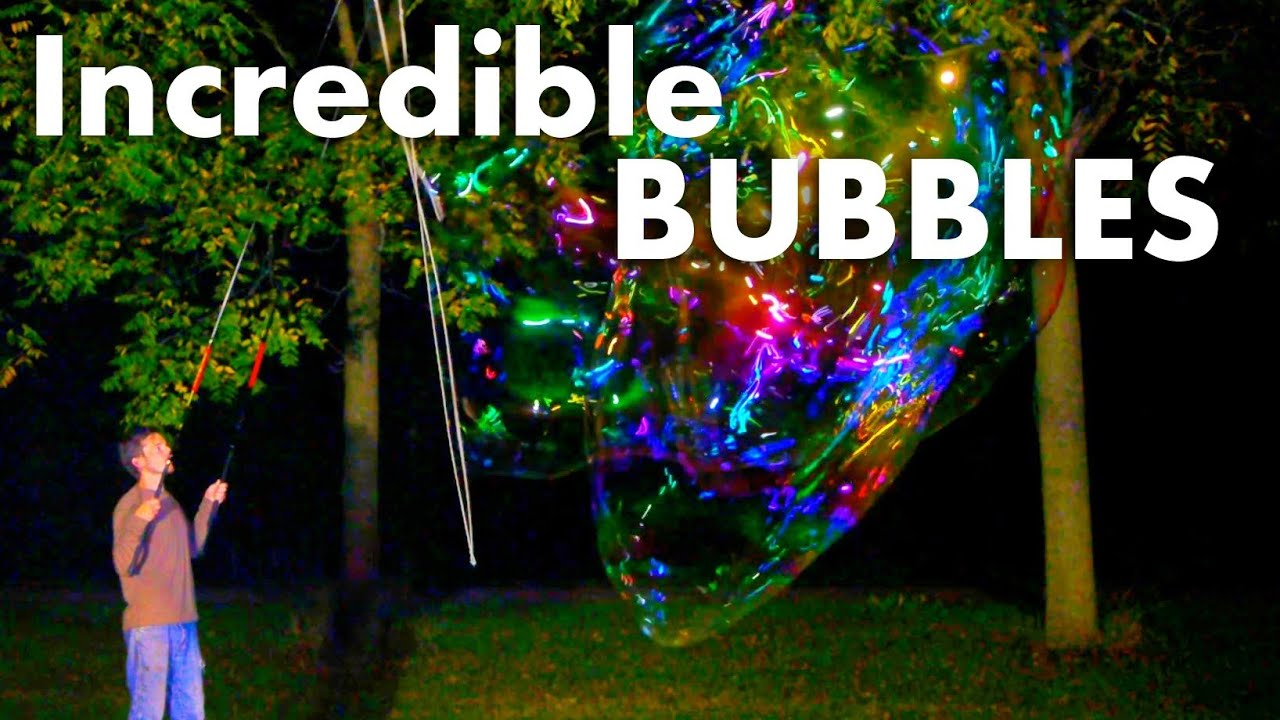 Giant Soap Bubbles at Night - Unearthly Colors