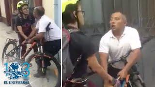Forcejeo entre ciclista y taxista en Oaxaca se vuelve viral
